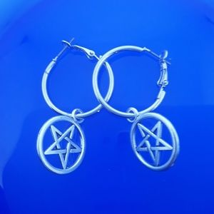 Pentagram Charm Hoop Earrings